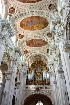 "St. Stephan's Cathedral, Passau, Germany, 1688 - St. Stephan's Cathedral or ""Dom St. Stephan"" in German, is a baroque church from 1688 in Passau, Germany. It is the seat of the Catholic Bishop of Passau and the main church of his diocese."