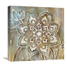 """Trademark Fine Art Danhui Nai """"Henna II"""" Canvas Art at Lowe's. This ready to hang, gallery-wrapped art piece features a white floral design painted over a brown and teal background. Giclee (jee-clay) is an advanced Pier One Wall Decor, Teal Background, Artist Canvas, Botanical Prints, Art Reproductions, Canvas Art Prints, Wrapped Canvas, Art Pieces, Fine Art"""