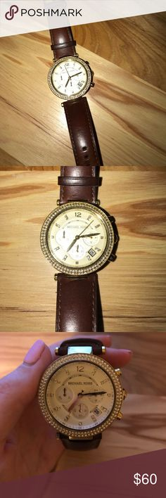 Michael Kors watch Michael Kors watch with brown leather strap and gold face. Do not have original packaging. Michael Kors Accessories Watches