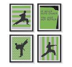 Decorate your martial arts champ s bedroom or playroom with these beautiful karate themed art prints. Different background patterns with a beautiful green and light gray color scheme make these prints perfect for your karate kid. If you would like a different color than shown, please put the color codes from the color swatch picture of which 2 colors you want in the Note to Seller.  This listing is for four (4) 8x10 prints. 3 Silhouette prints of a different karate moves and one It never…