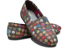 Polka dot TOMS. For every pair you buy, TOMS will give a pair of shoes to a child in need.  One for One.  How cool is that.  My daughter Leah buys these because they give one to a child in need.  :)