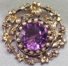 Huge Amethyst Diamond Pearl Pin Pendant