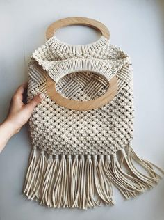 This macrame bag made from natural materials will be a great accessory for your romantic look. This macrame bag is perfect for spring and summer walks. Macrame Projects, Crochet Projects, Macrame Purse, Mode Crochet, Macrame Design, Macrame Patterns, Micro Macrame, Summer Bags, Boho