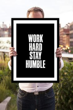 """Typography Print Motivational Wall Decor """"Work Hard Stay Humble"""" Letterpress Poster Style Minimalist Home Decor Office Decor Summer Trends Typography Quotes, Typography Prints, Typography Poster, Quote Prints, Poster Prints, Quote Art, Inspirational Posters, Inspiring Quotes, Motivational"""