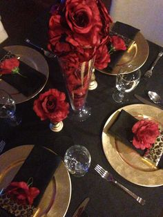 Red Black And Gold Table Decorations For 50th Birthday Party