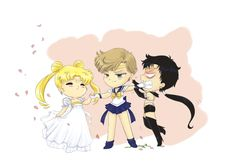 Sailor Uranus x Princess Serenity x Sailor Star Fighter Sailor Pluto, Sailor Moon Funny, Sailor Moon Fan Art, Sailor Moon Character, Sailor Neptune, Sailor Moon Crystal, Sailor Jupiter, Chibi, Sailor Saturno