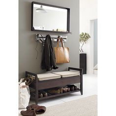 Addison Storage Bench with Cushions and Mirror in Benches | Crate and Barrel $499