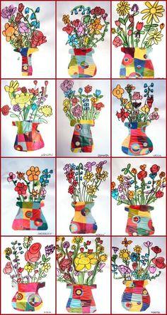 What a bunch of flowers, video for inspiration, still life Classroom Art Projects, School Art Projects, Art Classroom, Fleurs Van Gogh, First Grade Art, Spring Art Projects, Diy Y Manualidades, Ecole Art, Kindergarten Art
