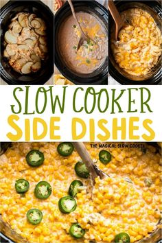 11 Easy Slow Cooker Side Dishes from Potatoes, Beans, Vegetables and even Mac and Cheese. Great sides for when your grilling or taking a dish to a barbecue or potluck. - The Magical Slow Cooker Crockpot Potluck, Best Potluck Dishes, Crockpot Side Dishes, Dinner Dishes, Side Dish Recipes, Food Dishes, Camping Side Dishes, Slow Cooker Chili, Slow Cooker Recipes