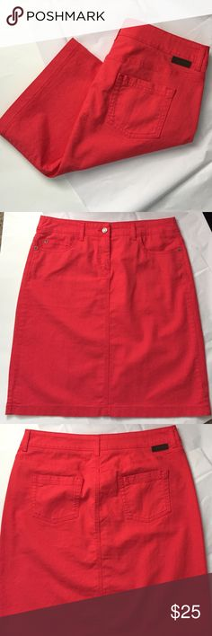 Boden Denim Pencil skirt! Boden Denim Pencil skirt! Bright red/pink color! Would look great with Navy blue or white! 22.5 inches long. Waist measuring flat across 17 inches. Hips 21 inches. Excellent condition! 97% cotton 3% elastane. Size 10L Boden Skirts Pencil