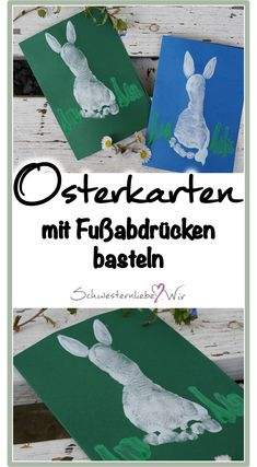 DIY // süße Hasen – Osterkarten mit (Baby) Fußabdrücken basteln Cute rabbits – Easter cards with baby – make your own footprints, craft with children, DIY with children, craft for Easter # footprints Baby Crafts, Easter Crafts, Diy And Crafts, Recycled Crafts, Make Your Own, Make It Yourself, Diy Bebe, Baby Footprints, Baby Makes
