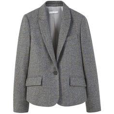 Mango Wool-Blend Blazer , Grey ($99) ❤ liked on Polyvore featuring outerwear, jackets, blazers, grey, elbow patch blazer, short blazer, tailored jacket, one button blazer and gray jacket