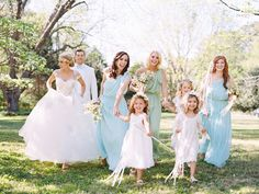 Spring southern wedding, bridesmaids wearing MINT & SEA GLASS dresses from Little Borrowed Dress