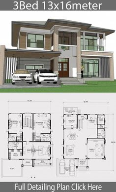 Home design plan with 3 Bedrooms. Two-story house Contemporary style Design a full area of ? Duplex House Design, Duplex House Plans, House Front Design, Small House Design, Cool House Designs, Modern House Design, Apartment Floor Plans, Modern House Floor Plans, Best House Plans
