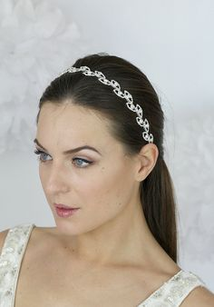 Bridal Hair, Crystal Leaf Headband, Wedding Hair Accessories, Crystal Headband, Bridal Ribbon Headband , Hair Wrap- Style 203
