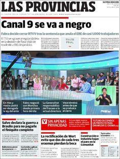 Portada de Las Provincias (España): «Canal 9 se va a negro»