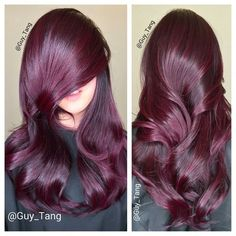 Red hair balayage (by Guy Tang). Hair Color And Cut, New Hair Colors, Burgundy Hair, Purple Hair, Plum Purple, Plum Hair, Purple Ombre, Brown Hair, Black Hair