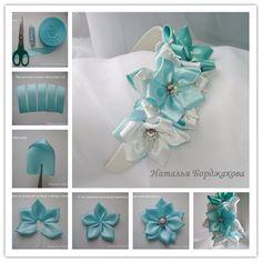 How to DIY Pretty Kanzashi Ribbon Flower Hairband | www.FabArtDIY.com