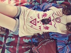 relaxing with native american/tribal design graphic t-shirt/tank top
