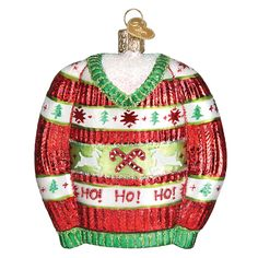 Festive Christmas Sweater Glass Ornament