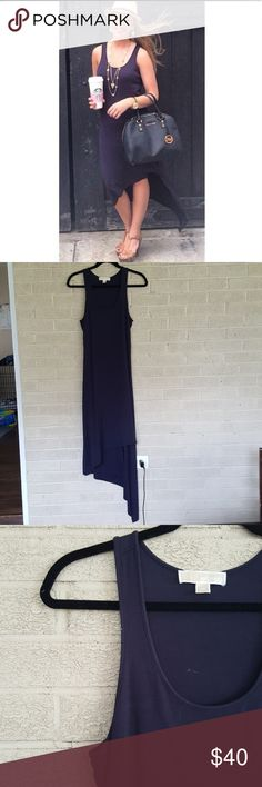| michael kors | asymmetric hem dress Beautiful navy blue asymmetric hem dress. Fitted at top. Originally purchased from @erica9009 so I am the 2nd owner. Photo credit to her for first photo. I wore this twice and it's in great condition. 91% modal 9% spandex Michael Kors Dresses