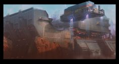 Facility - Container Drop, Tom Stockwell on ArtStation at https://www.artstation.com/artwork/facility-container-drop