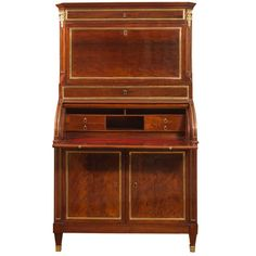 Louis XVI BrassMounted Mahogany Bureau Cabinet Stamped C M