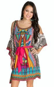 Super colorful and perfect for summer! Flying Tomato Women's Ivory Print with Tie Dress | Cavender's