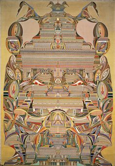* Augustin Lesage was a French coal miner who became painter and artist through the help of what he considered to be spirit voices. When he was 35 years old, Lesage claimed he heard a … Outsider Art, Mandala Art, Augustin Lesage, Art Visionnaire, Messy Nessy Chic, Art Brut, Arte Popular, Naive Art, Visionary Art