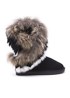 New Women's Asymmetrical Fur Collar Round Toe Flat Boots * Check out the image…