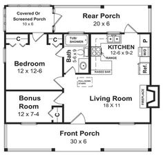 600 Sq. Ft. House Plan [The Weekender (06-001-285)] from Planhouse - Home Plans, House Plans, Floor Plans, Design Plans