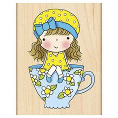 New Release * SITTING PRETTY * Penny Black 2015 cute wood mounted rubber stamp MIMI sitting on a tea cup