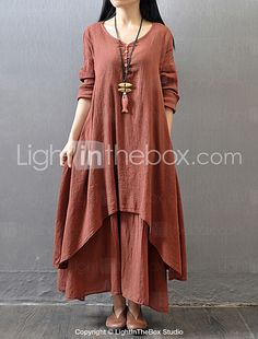 Women's Casual/Daily Simple / Chinoiserie Loose Dress,Solid V Neck Maxi Long Sleeve Red / White / Yellow Cotton / Polyester Fall Mid Rise 2017 - $16.99