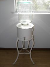 Antique Crock Water Cooler With Stand Vintage Office