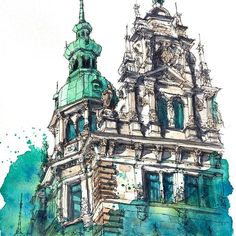 29 ideas urban landscape illustration architecture for 2019 Watercolor Architecture, Architecture Sketchbook, Watercolor Landscape, Architecture Art, Watercolor Art, Japanese Watercolor, Classical Architecture, Watercolor Background, Building Drawing