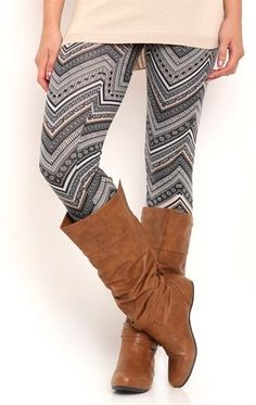 Deb Shops Chevron Print Legging $10.00