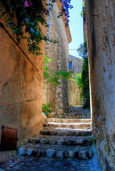 Steps of a village St. Paul de Vence, French Riviera