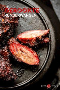 """""""Smoked Beef Cheeks"""" een heerlijke variant met runderwangen. #runderwangen #rund #wangen #stoven Beef Steak, Meat, Food, Meal, Eten, Meals"""