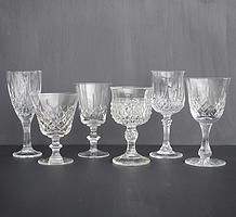 Cut glass wine glasses and goblets for hire for weddings and events