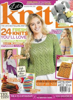 Let's Knit magazine Sweater Baby blanket Socks Shawl Quirky doorstop Easter idea