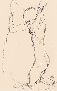 File:Egon Schiele - Kniende, eine Stehende umarmend - 1914.jpeg