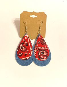 Excited to share this item from my #etsy shop: Blue jean denim fabric and red paisley bandana teardrop earrings layered boho hippie lightweight stylish statement unique handmade gift#blue#jean#denim#fabric#red#paisley#bandana#teardrop#earrings#boho#hippie#statement#handmade#homemade