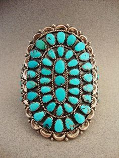Vintage Sterling Silver Turquoise Bracelet by SouthwestSkyJewelry, $535.00