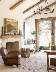 10 ways to create your French country farmhouse French leather club chair vintage fireplace French farmhouse interior design ideas French Country Farmhouse, Farmhouse Interior, Farmhouse Decor, Country Décor, Farmhouse Fireplace, Modern Farmhouse, Rustic French, French Country Fireplace, Classic Fireplace