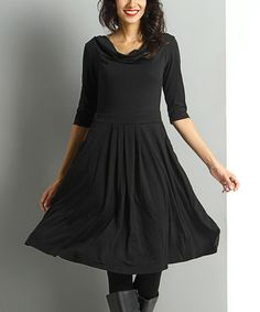 Another great find on #zulily! Black Cowl Neck Fit & Flare Dress #zulilyfinds