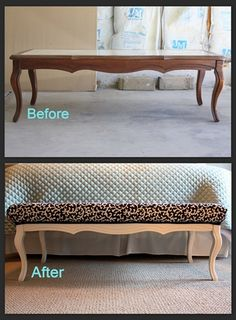 DIY: Converting Retired Coffee Table into a Bench {for the end of the bed or a hallway entrance or even in front of a window}. Not loving this particular table but could do it with any old coffee table!