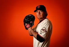 Pitcher Jake Peavy #22 of the San Francisco Giants poses for a portrait during spring training photo day at Scottsdale Stadium on February 27, 2015 in Scottsdale, Arizona.