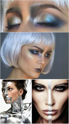 weltall kostüm selber machen damen holografisch make-up #fashing #party #carnival