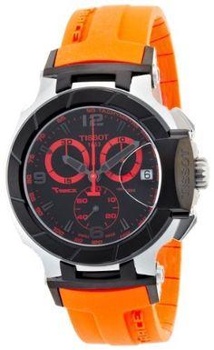 Tissot Men's T0484172705704 T-Race Quartz Orange Strap Chronograph Dial Watch Tissot. $410.68. Quartz movement. Orange rubber strap. Black chronograph dial. fold-over-clasp-with--push-button. Water-resistant to 330 feet (100 M)