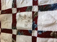 What to do with a wedding dress after a wedding?  Sew the bride and groom's wedding outfits into a quilt.